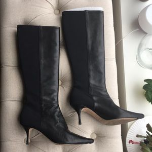 Knee high black leather Jimmy Choo boots